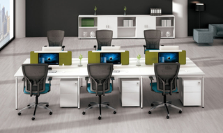 Modern 4 Person Office Workstation Desk Table with Partition (HC-97)