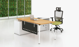 Teak Wood L Shaped Long Office Director Table (HC-93)
